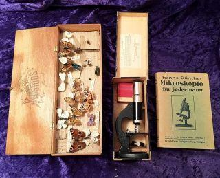 20er/30er J.  Antikes Forscher Ensemble / Mikroskop / Handbuch 1923 / Präparatebox Bild