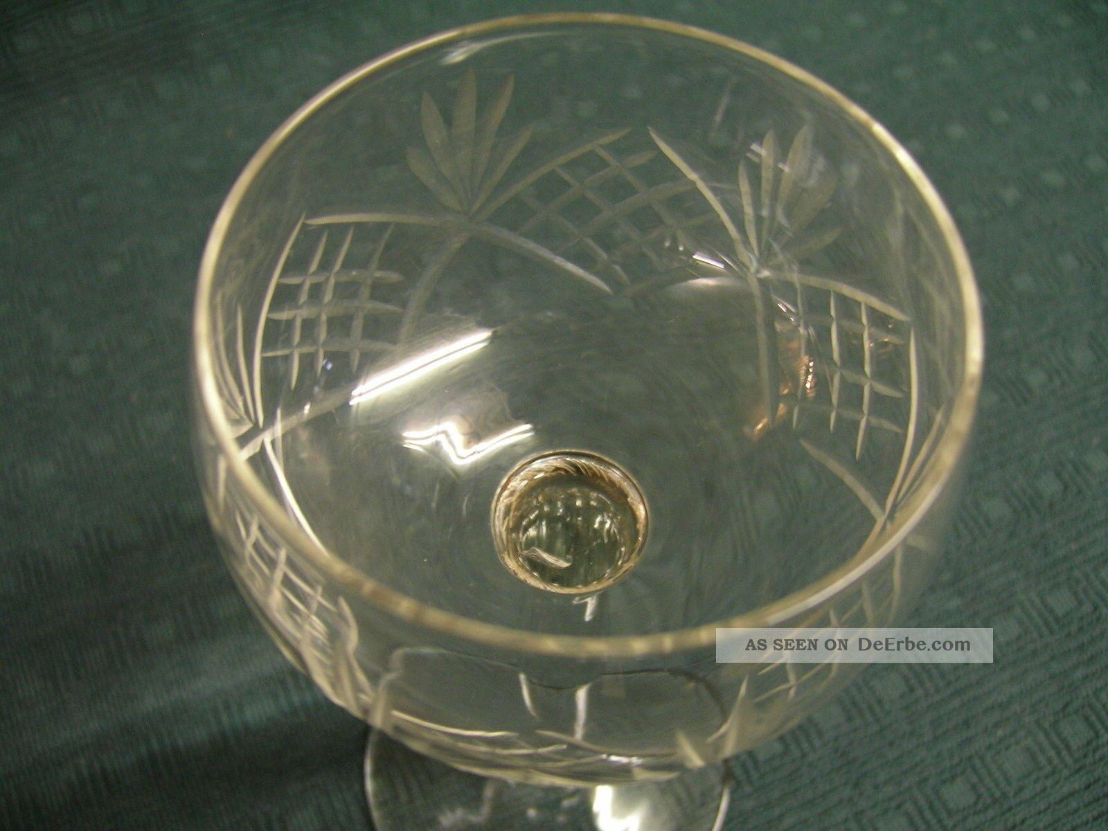 Weingläser Römer 6 Stück Bleikristall Mit Kerbschliff Aus Nachlass Kristall Bild