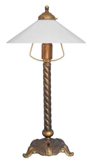 Sehr Schöne Jugendstil Tischlampe Salonlampe Messing Empire Style 1920 Bild