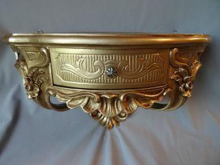 Wandkonsole Mit Schublade/spiegelkonsole/wandregal Barock Gold 50x27 Antik Cp84 Bild