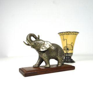 Seltene Art Deco Elefanten Skulptur Metall Tier Holzsockel Antik Frankreich Bild