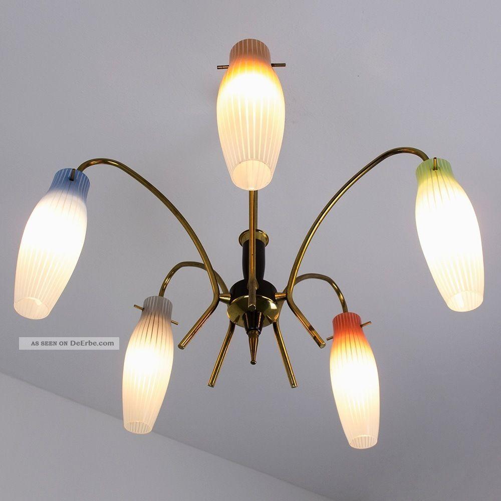 5 armige sputnik decken lampe glas bunt leuchte 50er 60er messing mid century. Black Bedroom Furniture Sets. Home Design Ideas