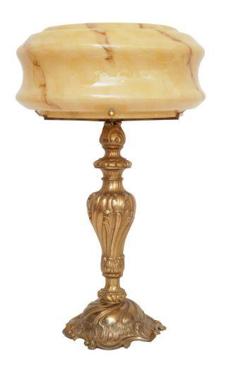 Einmalige Jugendstil Schreibtischlampe Messing Opalglas Tischleuchte Bild