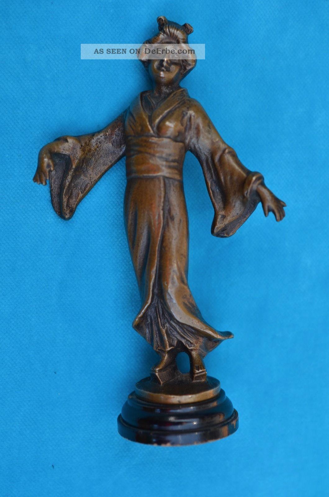 Alte Antike Bronzefigur Skulptur Japanische Geisha Asiatika: Japan Bild