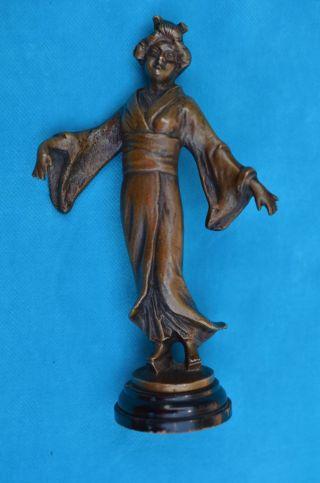Alte Antike Bronzefigur Skulptur Japanische Geisha Bild