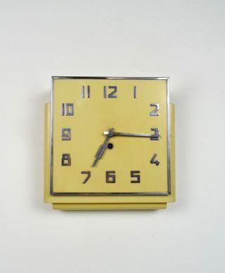 Seltene Bauhaus Wanduhr Art Deco Uhr Holz & Chrom Antik 30er Bild