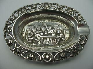 Wunderschöner Kleiner Massiver Aschenbecher Mit Wirtshausszene Aus 835 Silber Bild