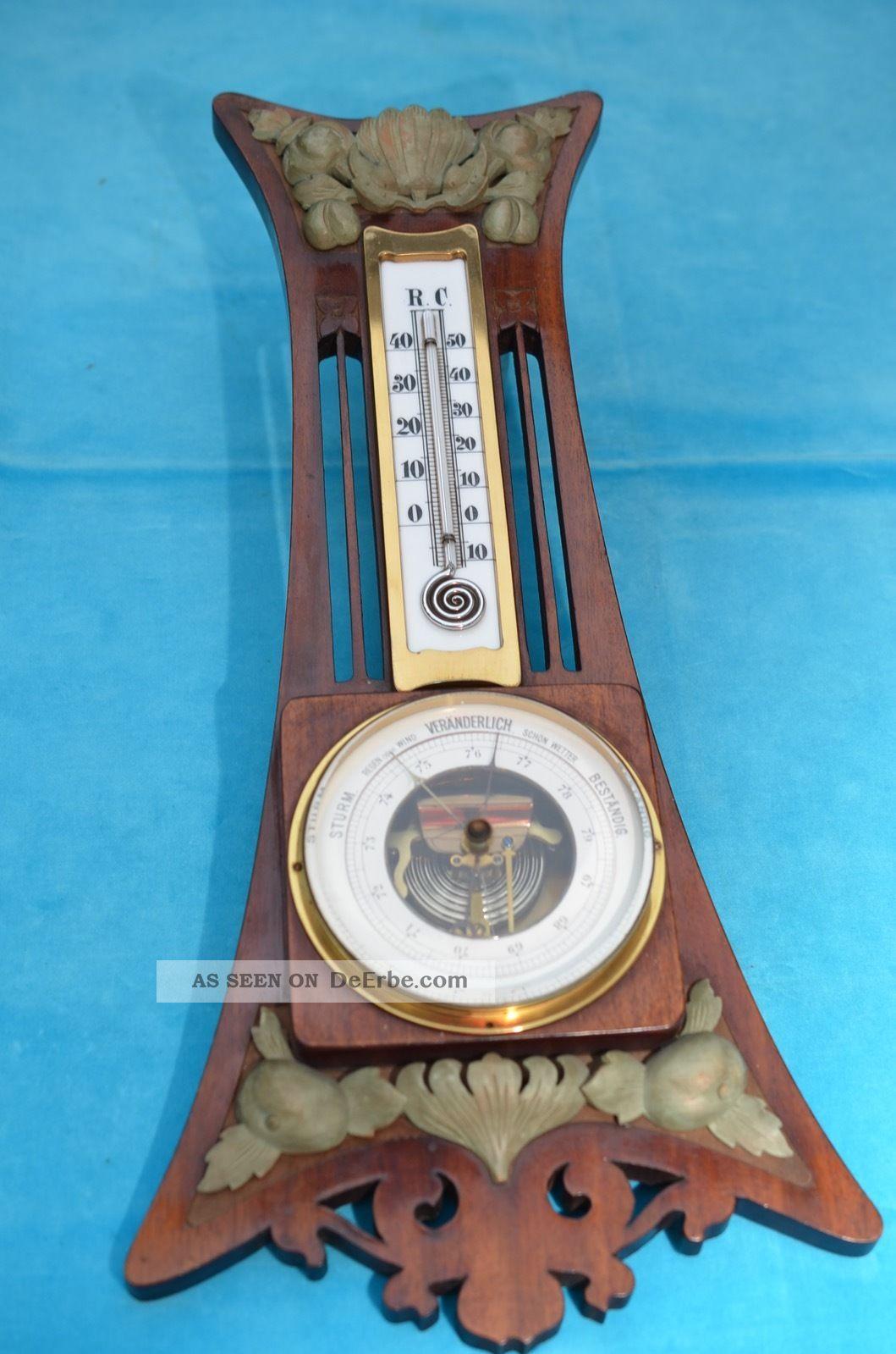 Altes Schönes Jugendstil Thermometer Mit Barometer Um 1900/1910 Technik & Instrumente Bild