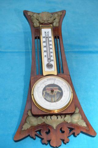 Altes Schönes Jugendstil Thermometer Mit Barometer Um 1900/1910 Bild