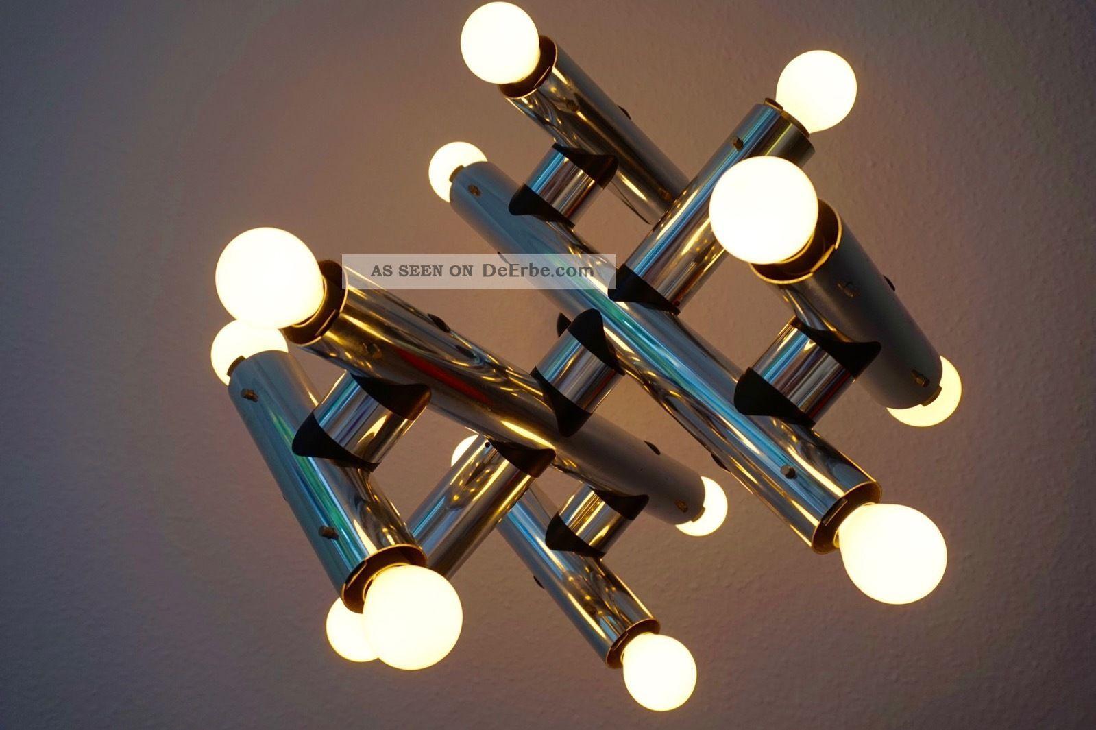 Edle Chrom Sputnik Objekt Industrie Design Lampe 14 Birnen Orbit Panton 70er 1970-1979 Bild