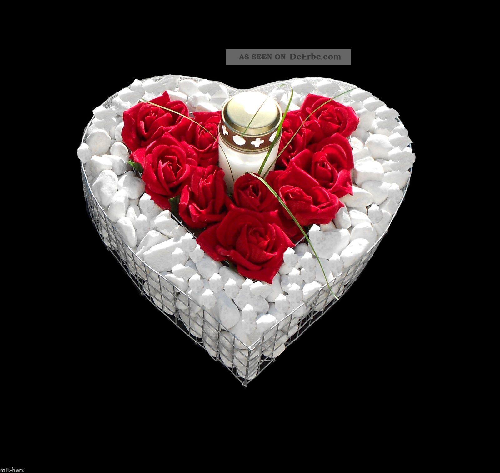 ♥ Grabherz Mit Kies Rosen Grablicht ♥35x35x8cm Grabschmuck Herz Grab Engel Liebe Nostalgie- & Neuware Bild