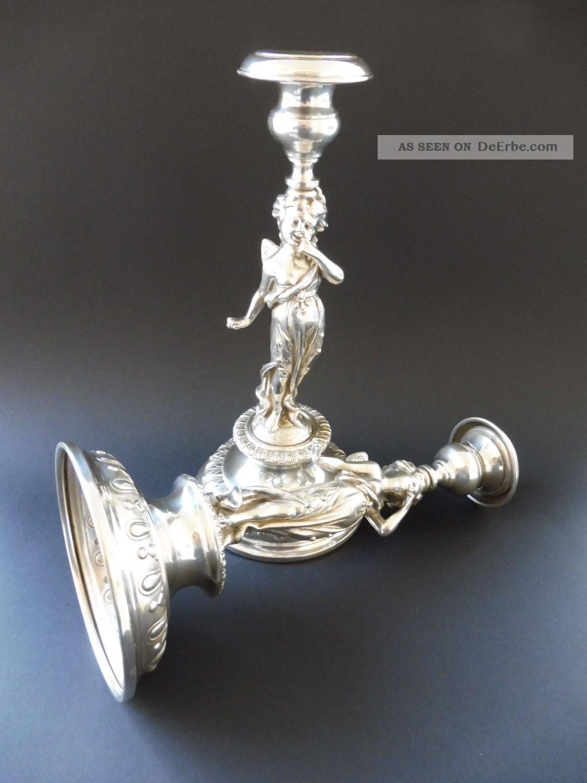 :: Paar Jugendstil Elfe Leuchter Elf Maiden Art Nouveau Candlestick Ichzenthaler 1890-1919, Jugendstil Bild