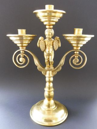 ⚠️ Paar Deutsche Trauben Putto Leuchter Art Deco Regensburg Candlestick Wmf Kkr Bild