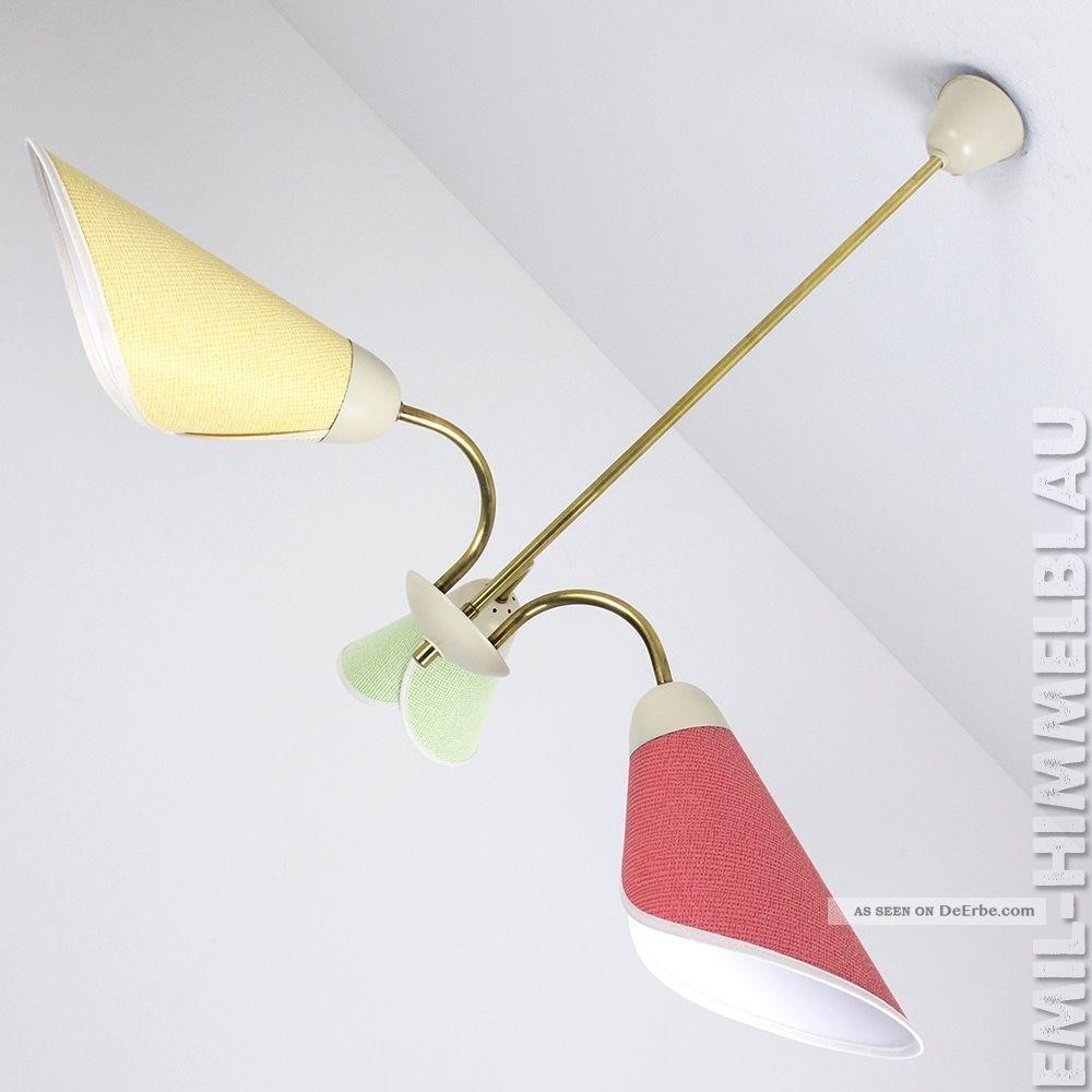 3er Sputnik Lampe TÜten 3 - Armig 50er Messing 50s Rockabilly 1950-1959 Bild
