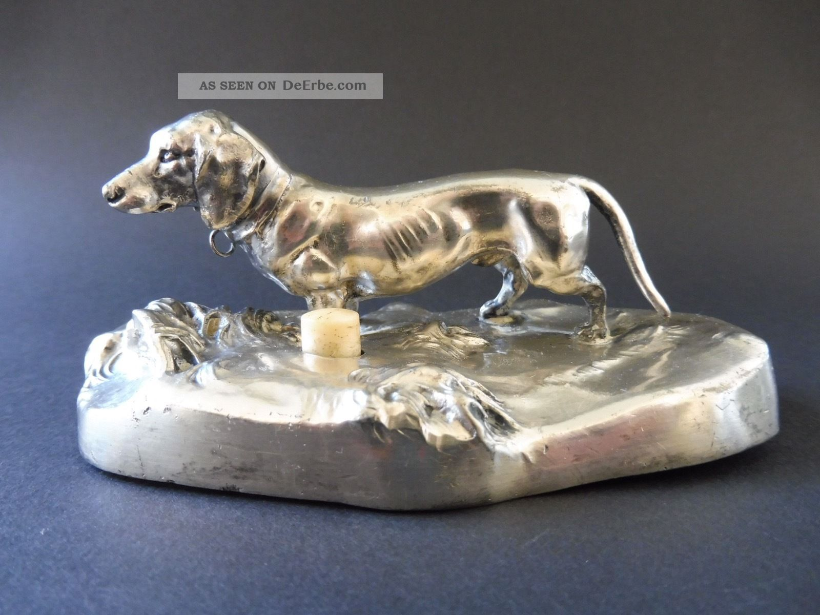 :: Jugendstil Dackel Klingel Tischglocke Dachshund Art Nouveau Table Bell Switch 1890-1919, Jugendstil Bild