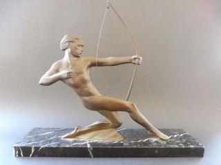 Art Deco BogenschÜtze Man Bronze Figur Frankreich P.  Berjean 1930 Archer French Bild