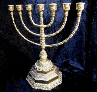 Ebraico 7 Armiger Kerzenleuchter Hebräisch 100 Messing Jüdische Menora 34cm Bild