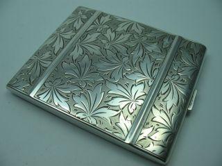 Wunderschönes Massives Altes Floral Verziertes Zigarettenetui Aus 835 Silber Bild