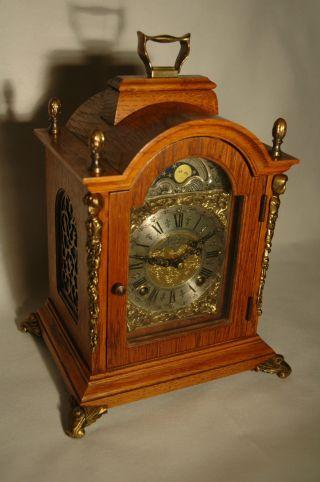 Alte Bracket Clock Kaminuhr Tischuhr Mondphasenuhr Stutzuhr Warmink Stockuhr Bild