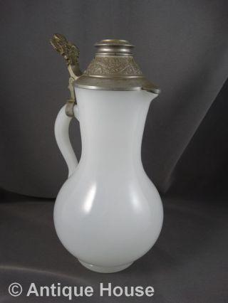 Antike Schenkkanne Weinkanne Böhmen Opalglas Glas Mit Zinndeckel Milchglas Bild