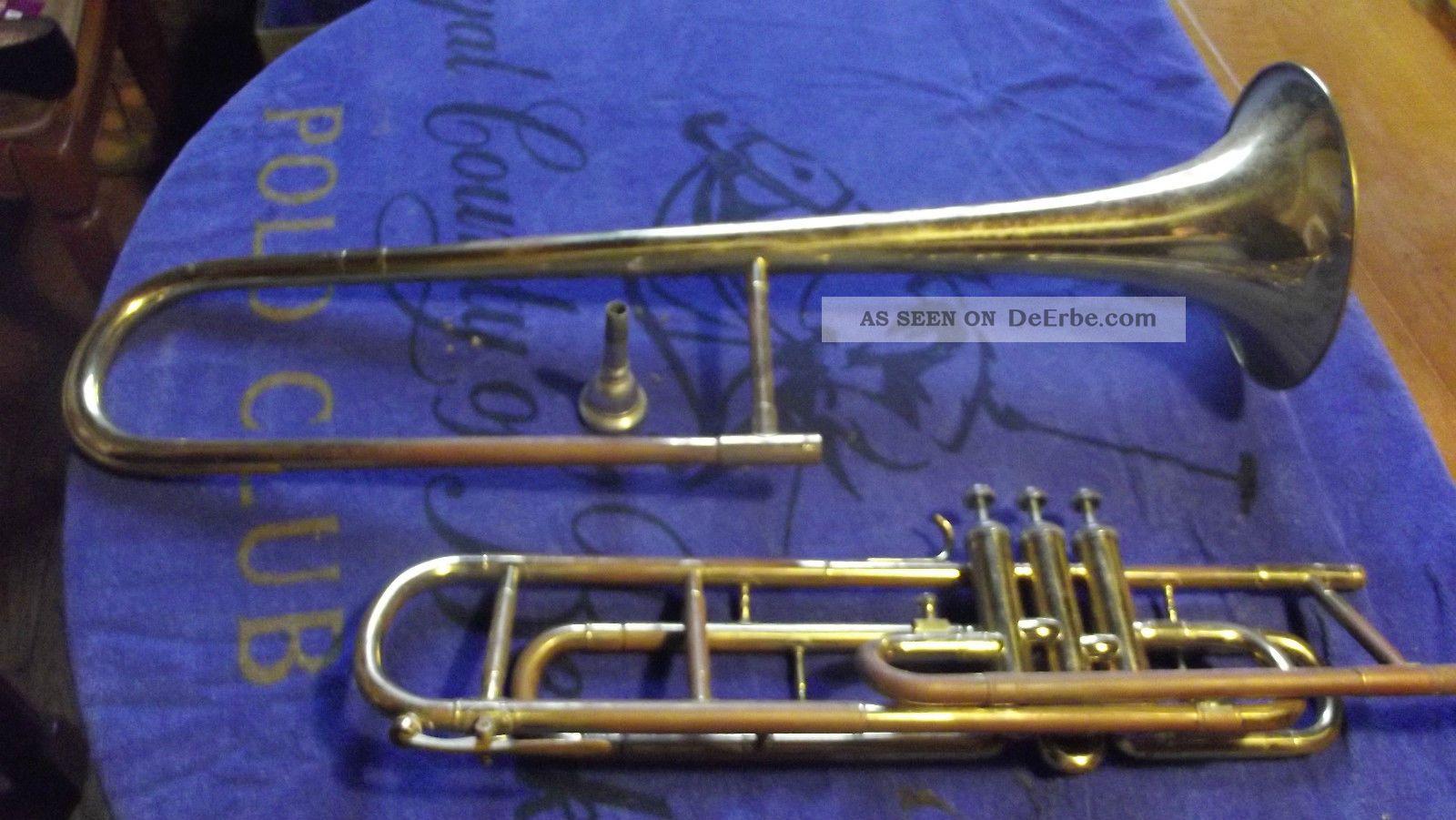 Alte Trompete Mit Mundstück A 24 Und Koffer - Kellerfund - Restaurier Bedürftig Blasinstrumente Bild