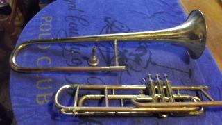 Alte Trompete Mit Mundstück A 24 Und Koffer - Kellerfund - Restaurier Bedürftig Bild