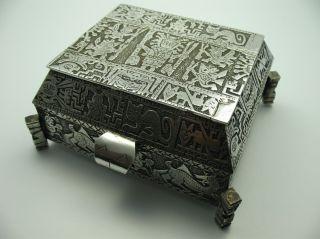 Handarbeit Südamerika Wunderschöne 582 Gr Massive Zigarettendose Aus 900 Silber Bild
