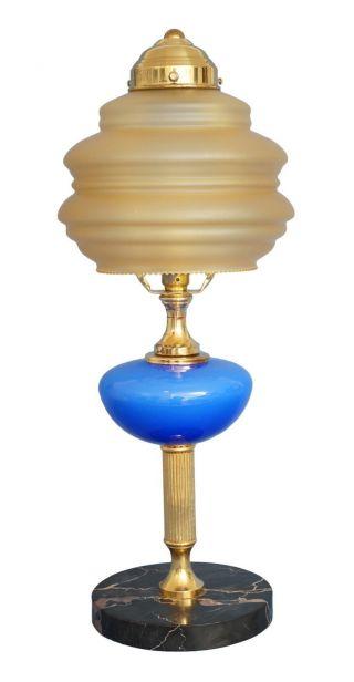 Edle Jugendstil Skyscraper Tischleuchte Einzelstück Antikes Glas Lampe Bild