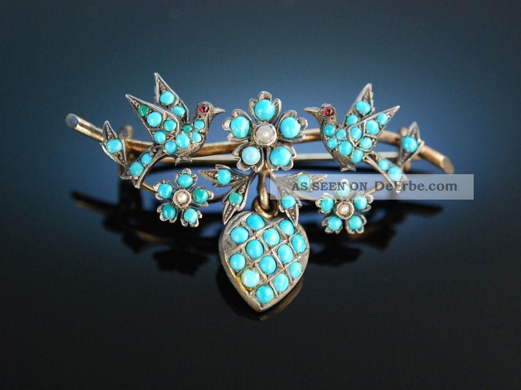 Historische Brosche TÜrkise Saat Perlen DoublÉ Um 1850 Antique Turquoise Brooch Schmuck nach Epochen Bild