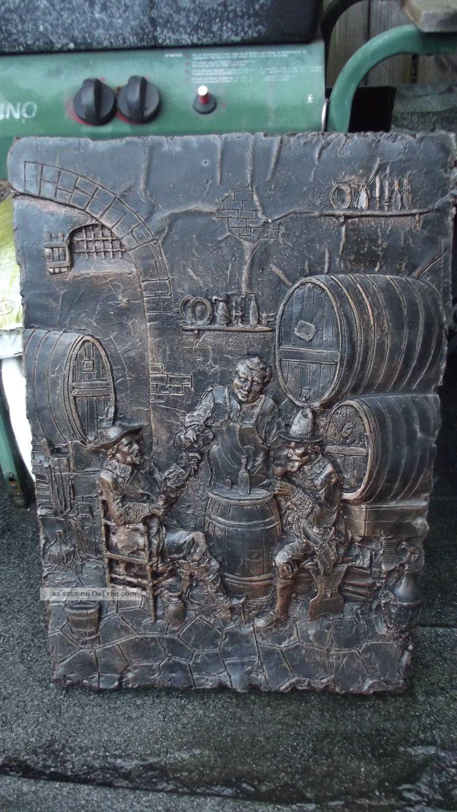 Wandrelief Kaminplatte - Kupfer Wirtshausmotiv - 71x50x2 Cm - 13 Kg - Kellerfund Metallobjekte Bild