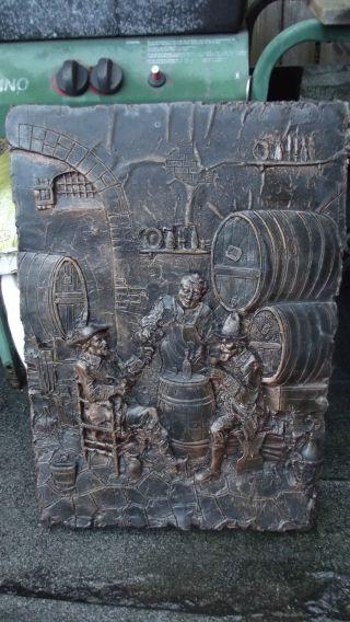 Wandrelief Kaminplatte - Kupfer Wirtshausmotiv - 71x50x2 Cm - 13 Kg - Kellerfund Bild