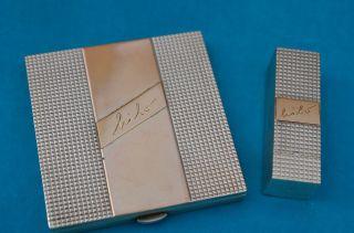Altes Schminkset Puderdose U.  Lippenstiftetui Silber 950 Mit Gold 585/14kt Bild