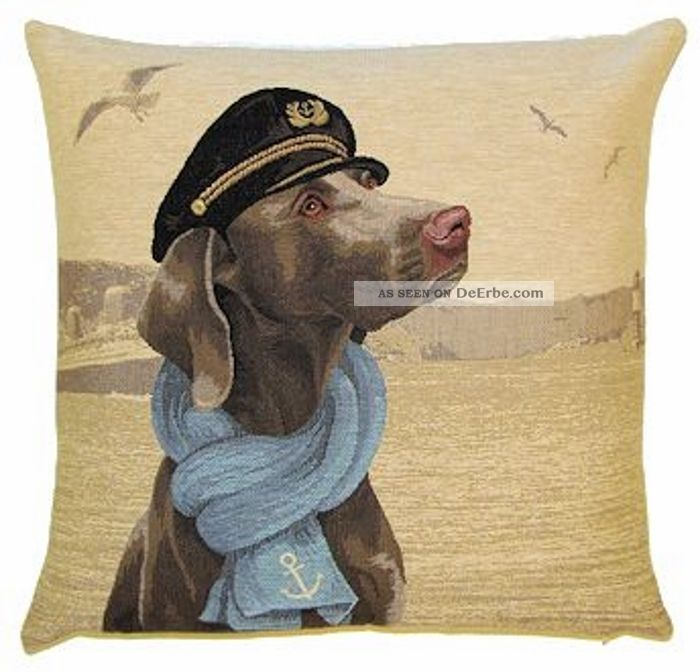 Gobelin Kissen Weimaraner Zur See Dekokissen Incl Füllung Hund Maritim Maritime Dekoration Bild