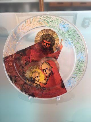 Schott Glaskunst Weihnachtsteller Glas Weihnachten 1978 Prof.  Johannes Ludwig Bild