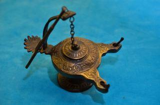 Alte Bronze/messing Grubenlampe Froschlampe Bild