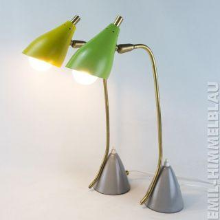 Paar Lampen Messing Leuchte Lamp 50s Tisch GrÜn Gelb Grau Stilnovo Vintage Bild