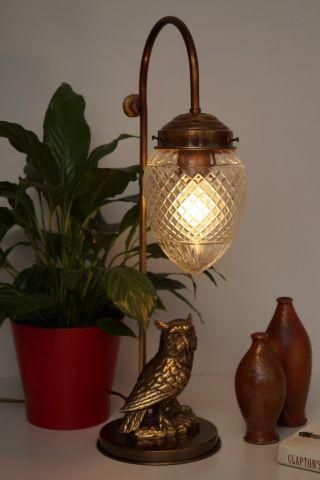Wunderschöne Französische Jugendstil Schreibtischlampe Eule