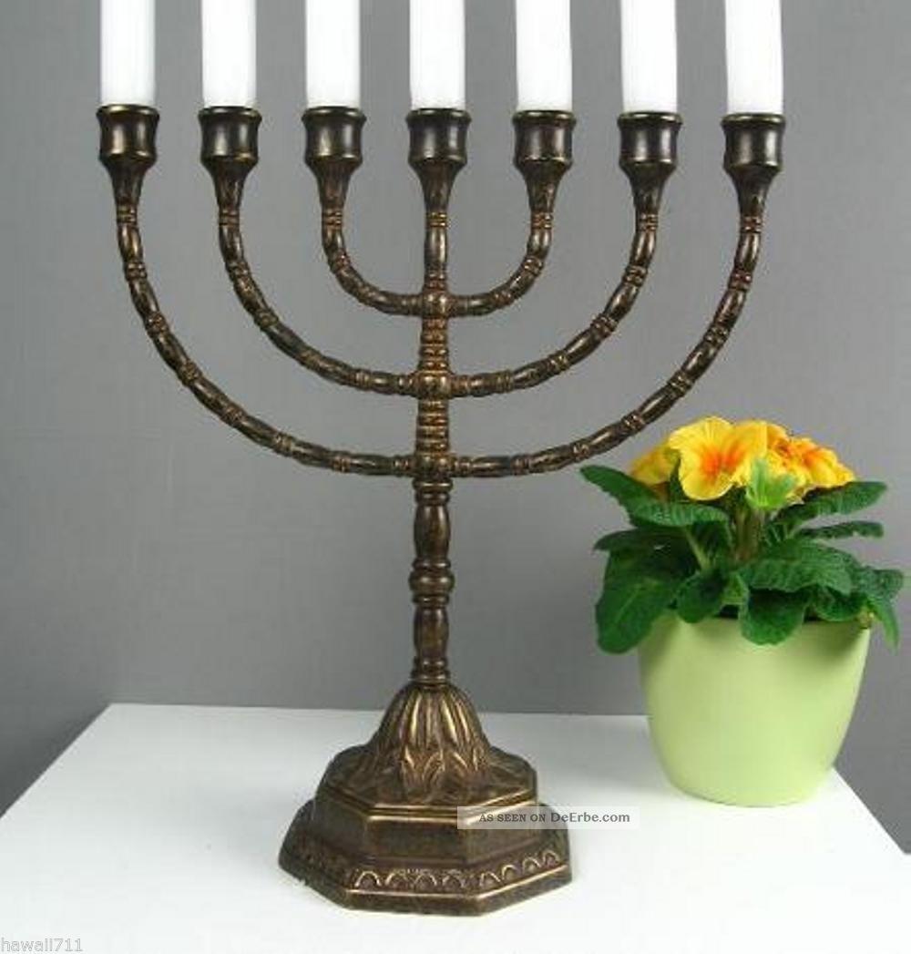 Menora Kerzenleuchter Antik Kerzenständer Tischleuchter Messing Davidleuchter Gefertigt nach 1945 Bild