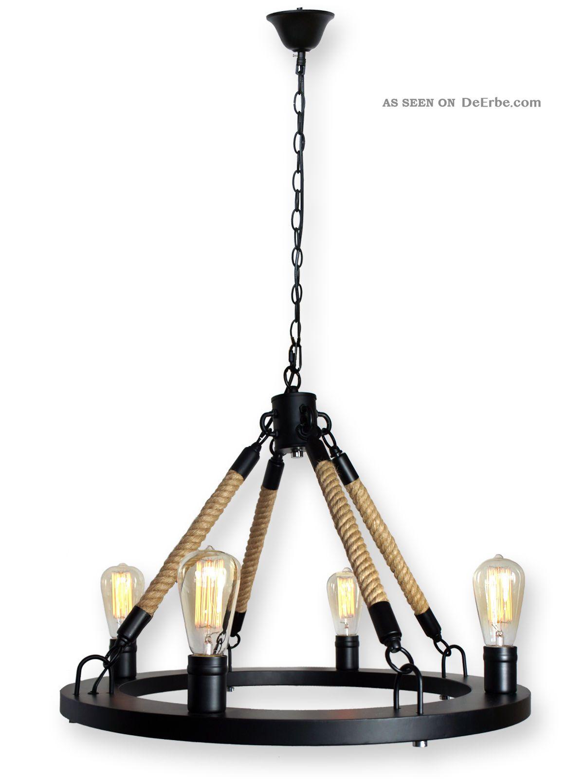Retro loft seil kronleuchter deckenleuchte schwarz inkl for Lampen nostalgie