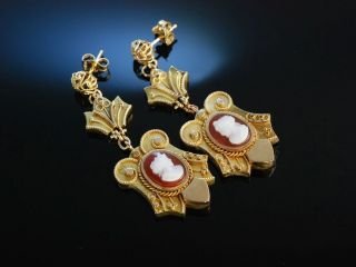 Historische Kamee Ohrringe Gold 375 England 1870 Achat Hardstone Cameo Earrings Bild