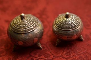 Alte Antike Deckeldosen Standbehälter Aus Silber Bild