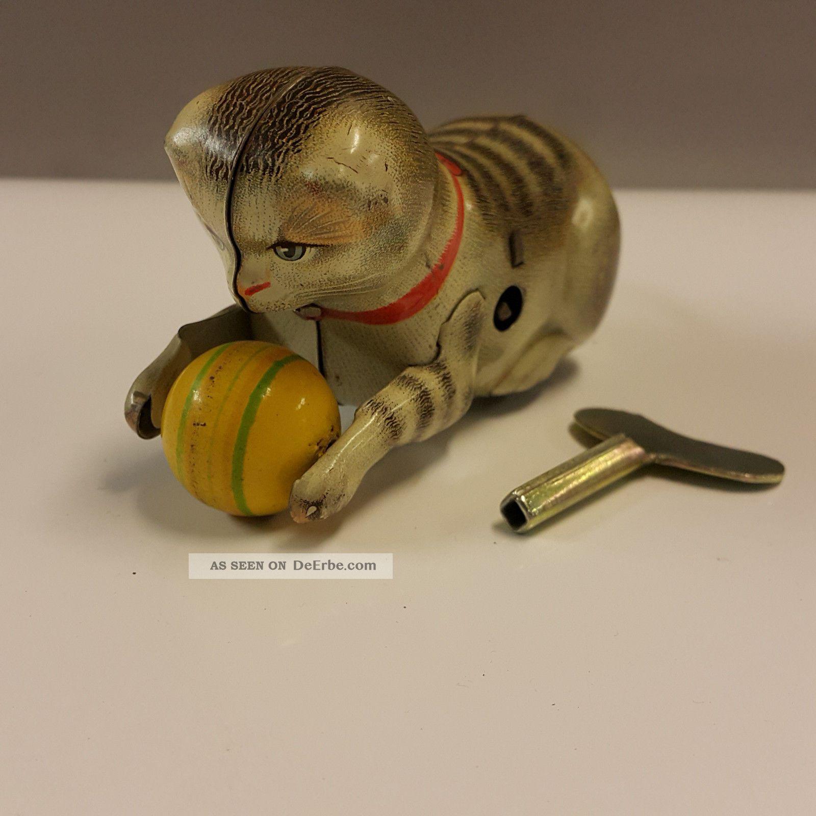 Köhler Blechspielzeug Katze Mit Ball Wendekatze Made In Us Zone Germany Original, gefertigt 1945-1970 Bild