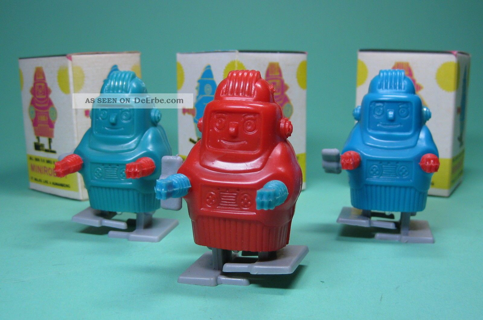 3 Wind Up Minirobots Robotse Roboter Made In Hongkong,  Ovp Boxed Original, gefertigt 1945-1970 Bild