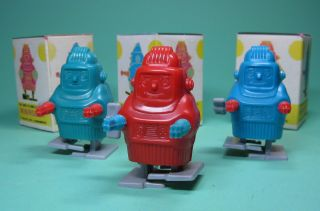 3 Wind Up Minirobots Robotse Roboter Made In Hongkong,  Ovp Boxed Bild