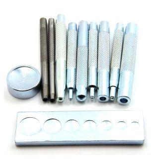 11pcs Diy Leder Werkzeug Druckknopf Handschlageisen Locheisen Lederkraft Bild