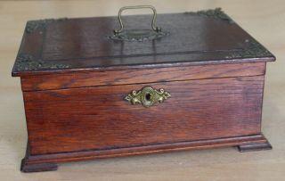 Antikes Schmuckkästchen Schmuckschatulle Holz - Kiste Schatulle Um 1900 Bild