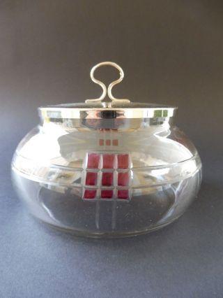 Jugendstil Kristallglas Dose Quadrat Decor Rot Art Nouveau Box Wien Vienna 1910 Bild