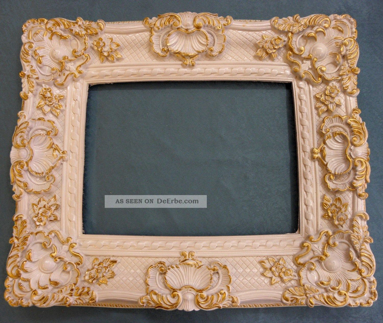Barock Bilderrahmen 63x53 Cm / 40 X 30 Cm Falzmaß Rahmen Weiss/gold ...