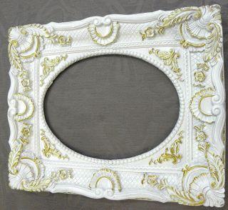 Prunk Oval Barock 48 X 58 / 30 X 40 Bilderrahmen Art Deco Stil Weiß/gold Bild