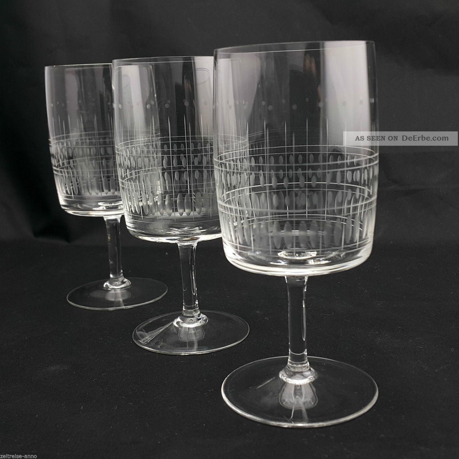 3 Kristall Weingläser Dünnwandig Feiner Streifen Olivenschliff Vintage Design Kristall Bild